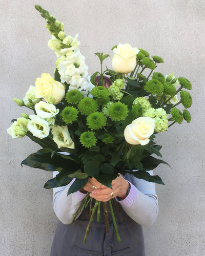 White & Green bouquet flower delivery Nottingham