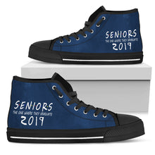 Load image into Gallery viewer, Seniors 2019 High Top Shoes - The One Where They Graduate - Black