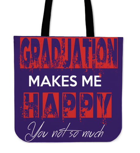 Graduation Makes Me Happy - Graduation Tote Bag - Purple