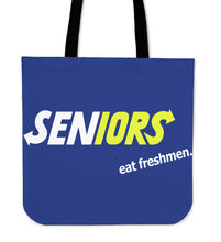 Load image into Gallery viewer, Graduation Tote Bags - Seniors Eat Freshmen - Blue