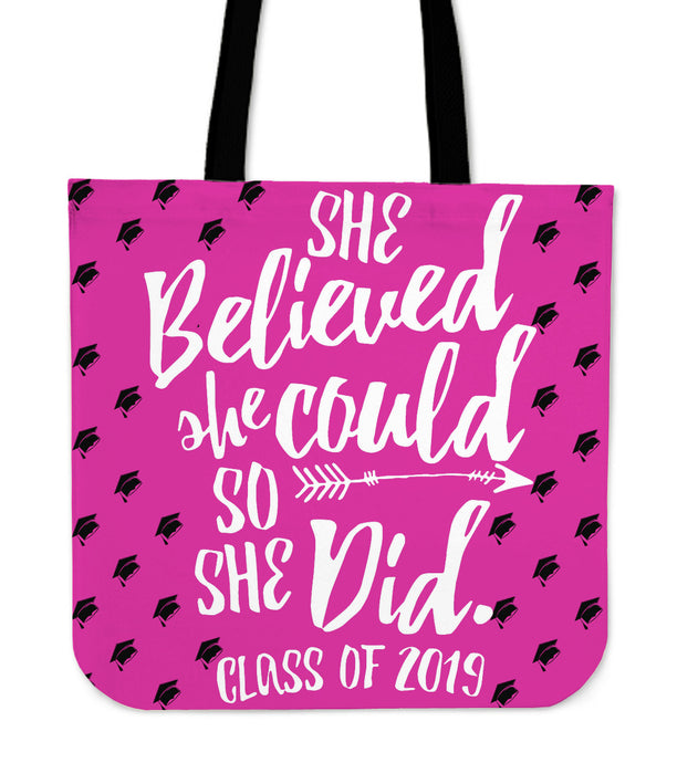 She Believed She Could - Class of 2019 Tote Bag - Pink