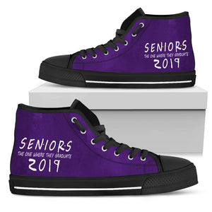 Seniors 2019 High Top Shoes - The One Where They Graduate - Black