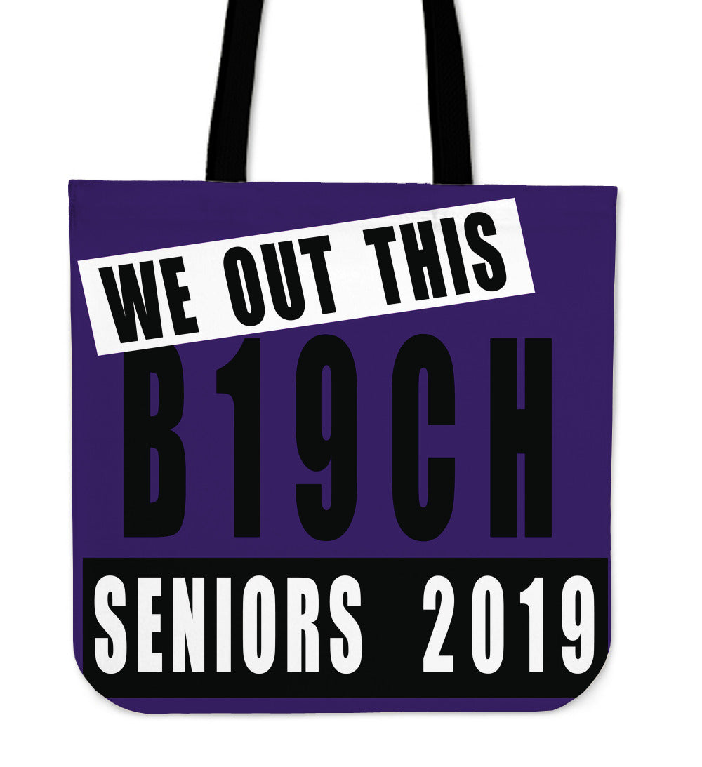 We Out This B19ch - Graduation Tote Bags - Purple