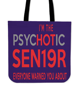 The Psyhotic Senior - Senior 2019 Tote Bag - Purple