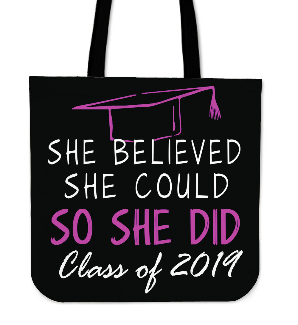 She Believed She Could So She Did - Class of 2019 Tote Bags - Black