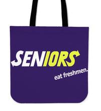 Load image into Gallery viewer, Graduation Tote Bags - Seniors Eat Freshmen - Purple