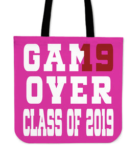 Game Over - Class of 2019 Tote Bag - Pink