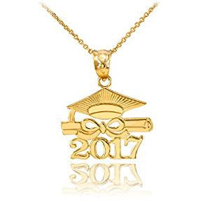 10k Yellow Gold Diploma & Cap Charm 2017 Graduation Charm Pendant - My Class Shop