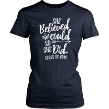 Load image into Gallery viewer, She Believed She Could So She Did - Class of 2019 Tshirt - Navy