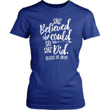 Load image into Gallery viewer, She Believed She Could So She Did - Class of 2019 Tshirt - Blue