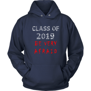 Class of 2019 hoodies with slogans navy