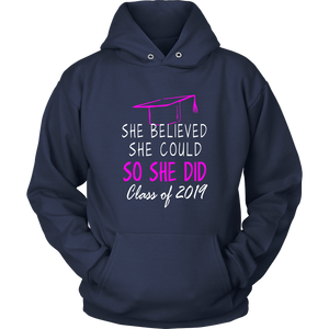 She Believed She Could - Class of 2019 Hoodie - Navy