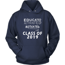 Load image into Gallery viewer, Educated Activated Motivated - Class of 2019 hoodie - Navy