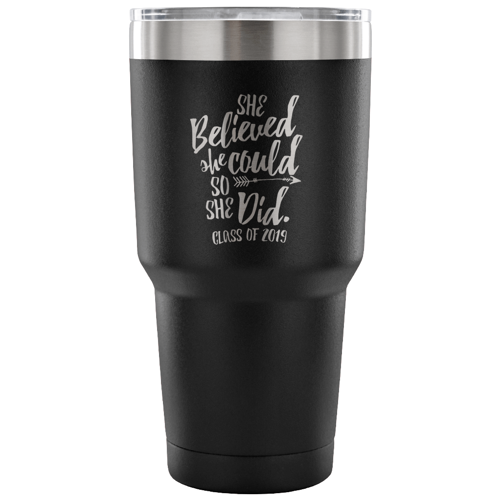She Believed She Could So She Did - Graduation Coffee Mug - Black
