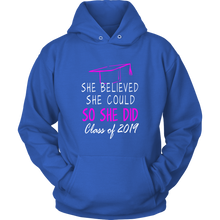 Load image into Gallery viewer, She Believed She Could - Class of 2019 Hoodie - Blue