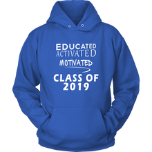 Load image into Gallery viewer, Educated Activated Motivated - Class of 2019 hoodie - Blue