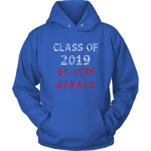 Class of 2019 hoodies with slogans blue