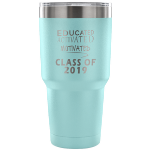 Graduation Mug - Educated Activated Motivated - Light Blue