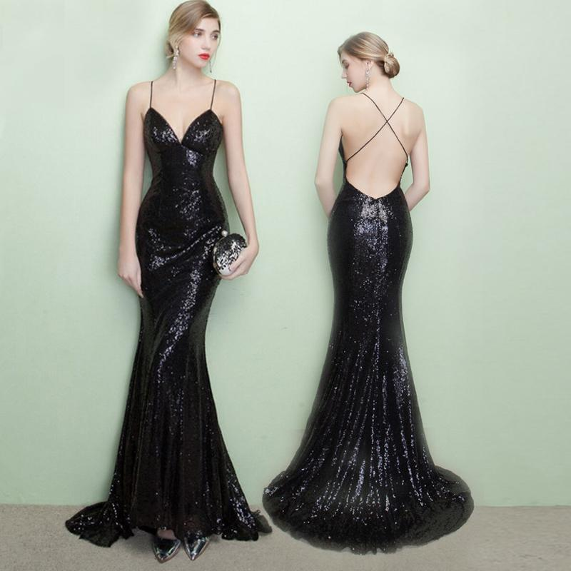 Backless Black Mermaid Prom Dress