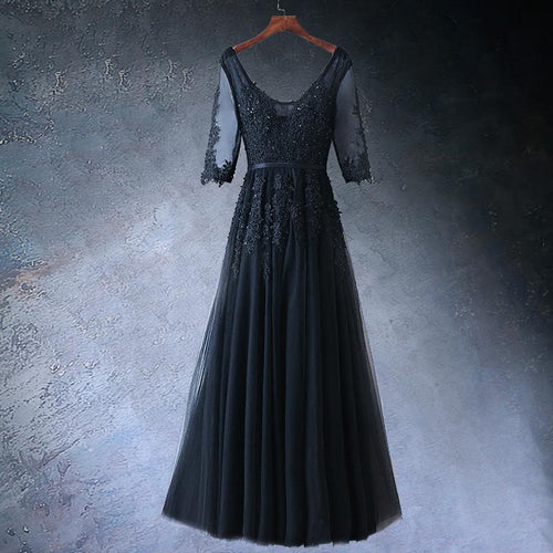 Black V-Neck Long Sleeve Prom Dress