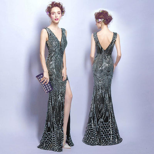 Black Mermaid All Sequined V-Neck Long Prom Dress