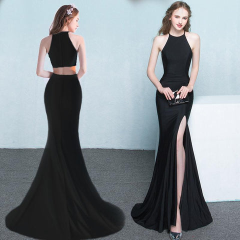 Black Side Slit Prom Dress