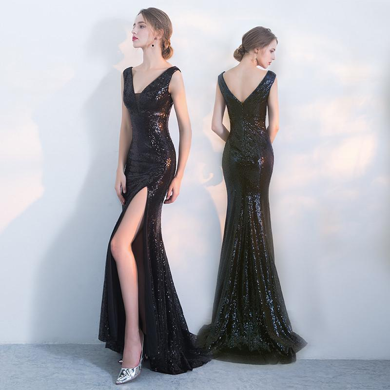 Black V-Neck Mermaid Prom Dress