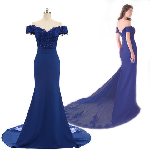 Blue Cap Sleeve Prom Dress