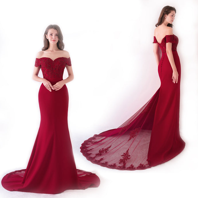Burgundy Cap Sleeve Prom Dress