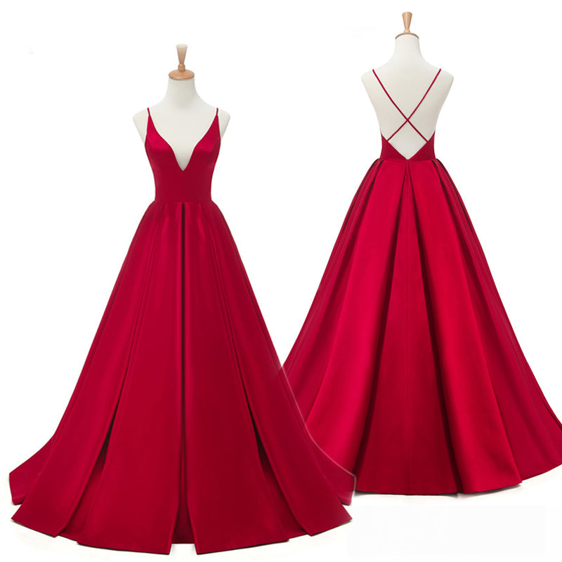 Burgundy Long A-line Prom Dress
