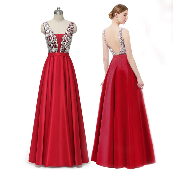 Burgundy Long Prom Dress 2019