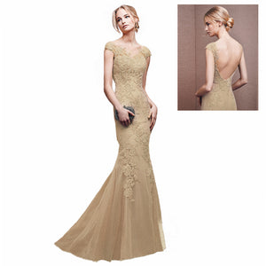 Champagne Lace Mermaid Prom Dress