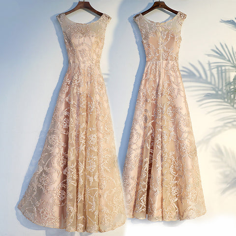Champagne  Long Dress 2019 - Scoop Neck