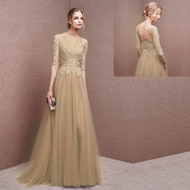 Champagne Long Half Sleeve Prom Dress 2019