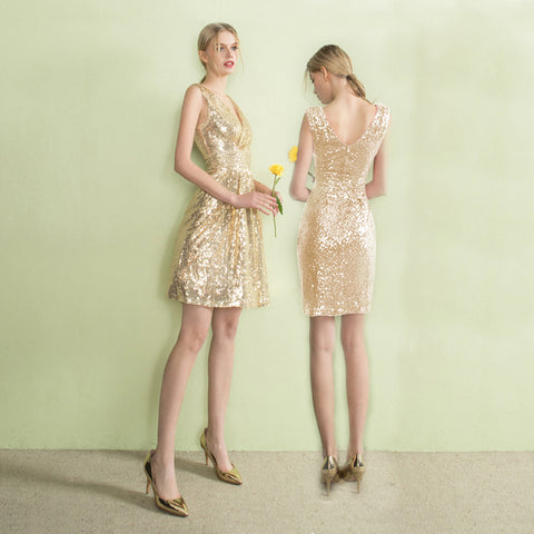 Champagne Sweetheart Sequin Short Prom Dress
