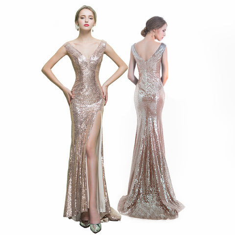Champagne V-Neck Long Prom Dress