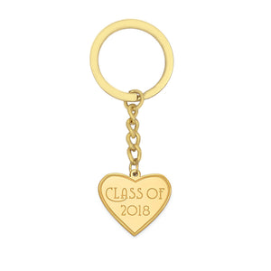 Class of 2018 heart-shaped graduation key ring