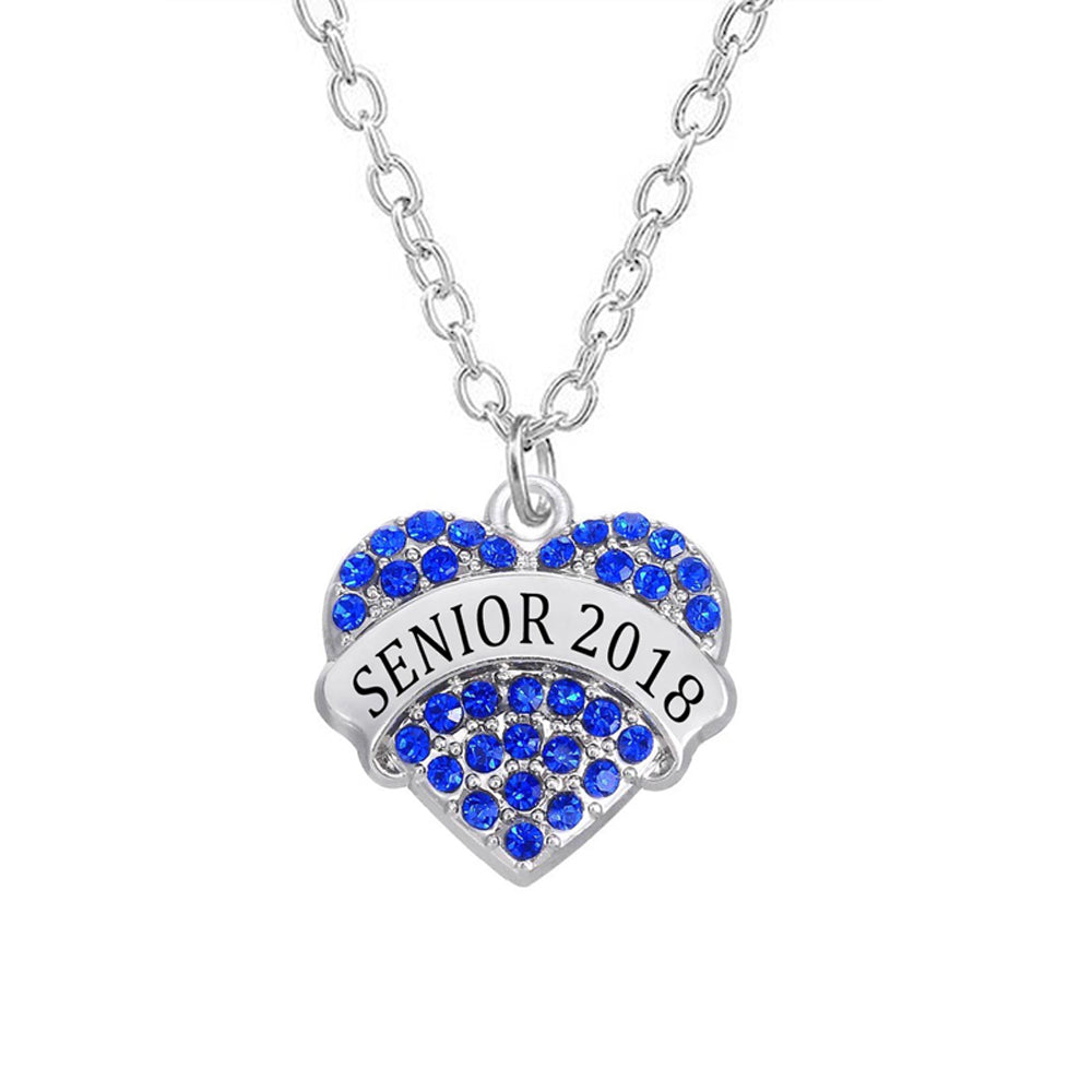 Class of 2018 graduation heart shaped necklace