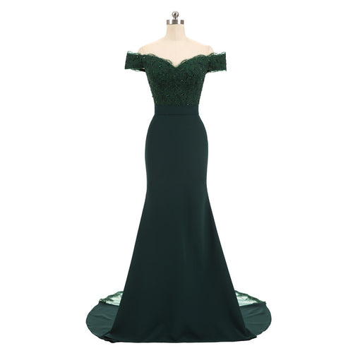 Dark Green Cap Sleeve Prom Dress