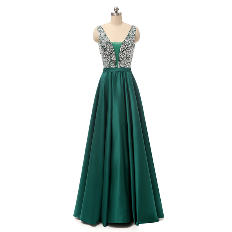b10e74f75f Dark Green Long Prom Dress 2019