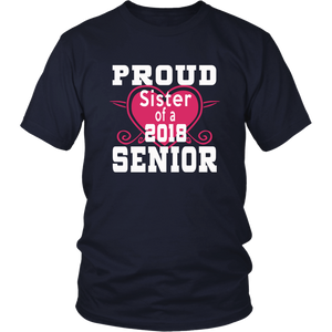 Proud Sister of 2018 Senior - Class of 2018 shirts - Navy