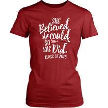 Load image into Gallery viewer, She Believed She Could So She Did - Class of 2019 Tshirt - Red