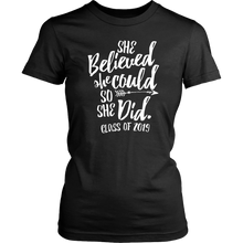 Load image into Gallery viewer, She Believed She Could So She Did - Class of 2019 Tshirt - Black