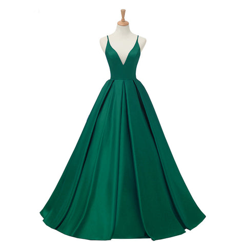 Hunter Green Long Prom Dress