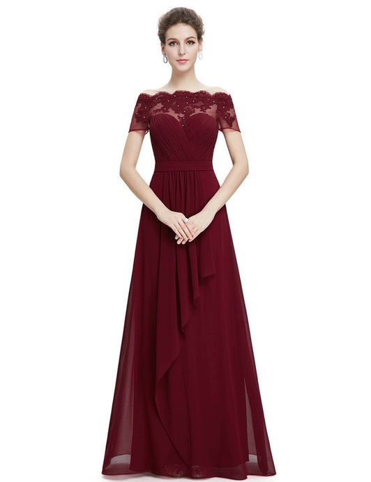 Unique and beautiful lace burgundy prom dress available only at My Class Shop.