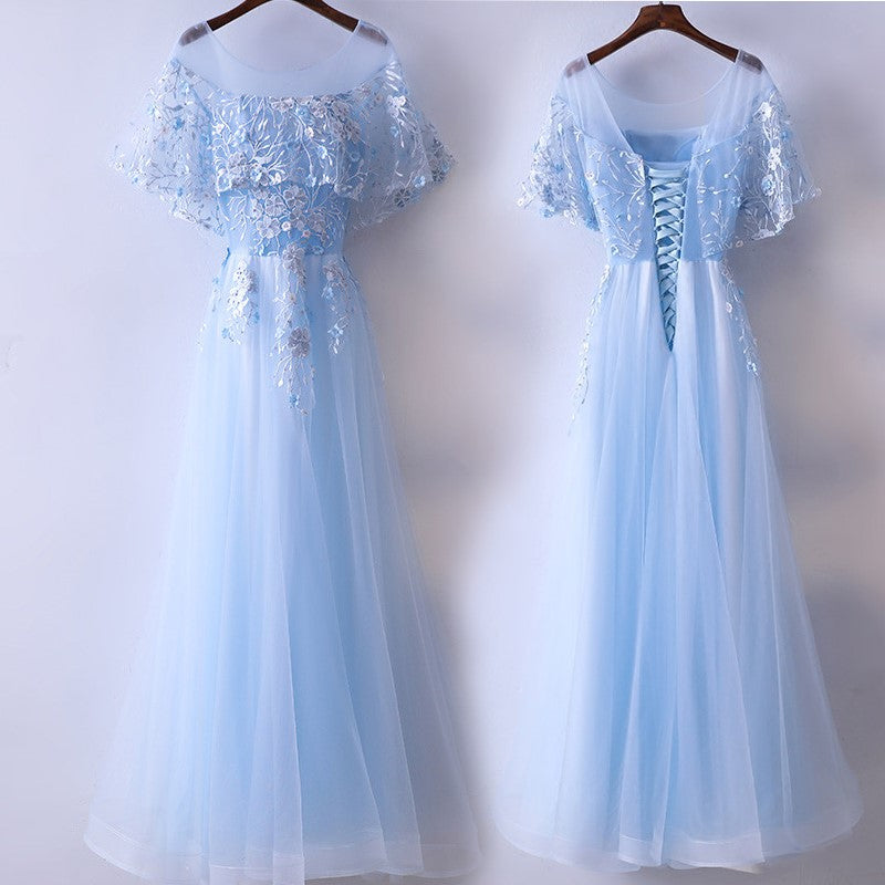 Light Blue Half Sleeve Prom Dress