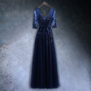 Navy Blue A-line Prom Dress
