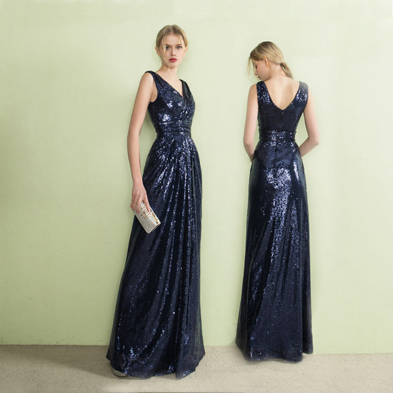 Navy Blue Long Mermaid Prom Dress