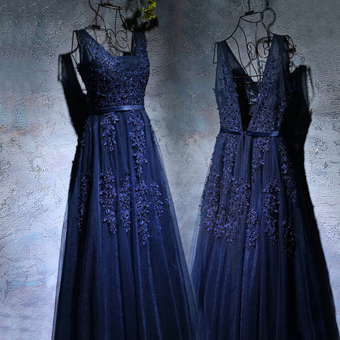 Navy Blue V-neck Prom dress
