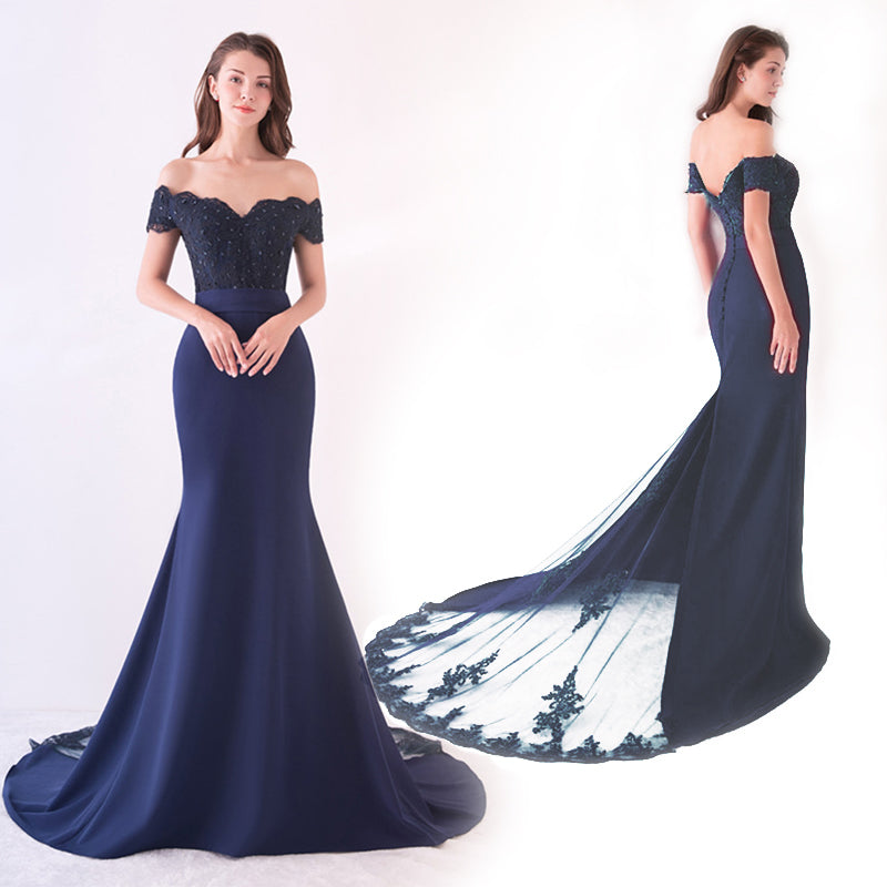 Navy Cap Sleeve Prom Dress